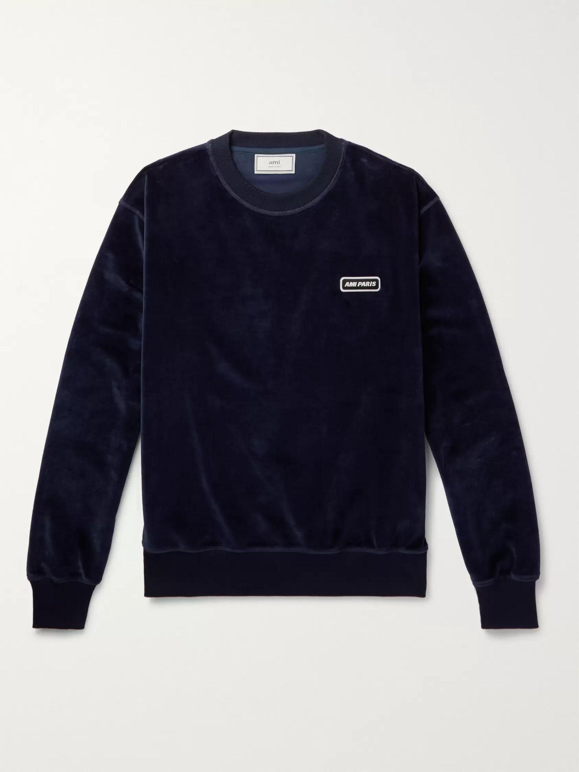 Logo Appliquéd Cotton Blend Velour Sweatshirt