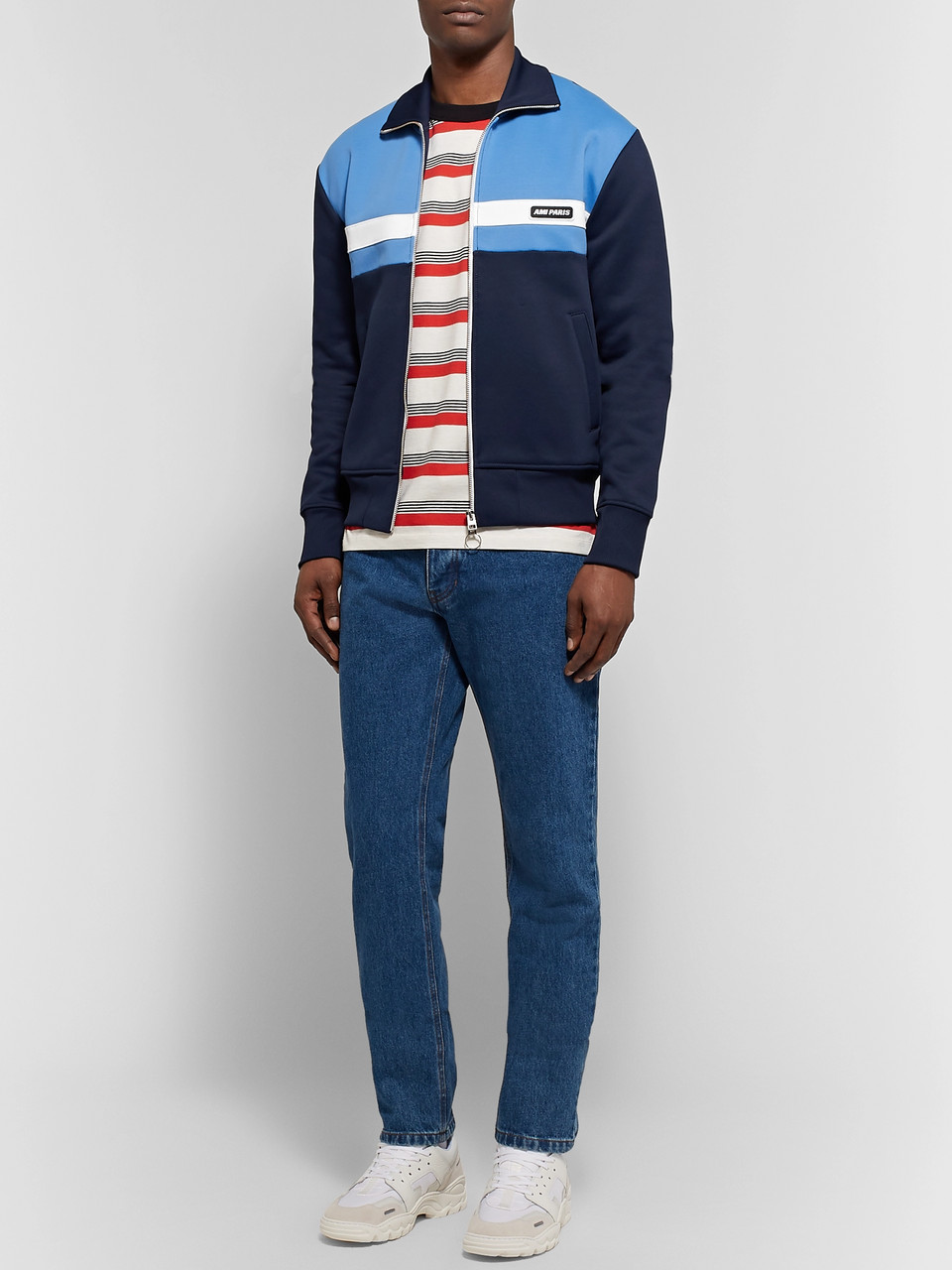 AMI Slim-Fit Colour-Block Tech-Jersey Track Jacket