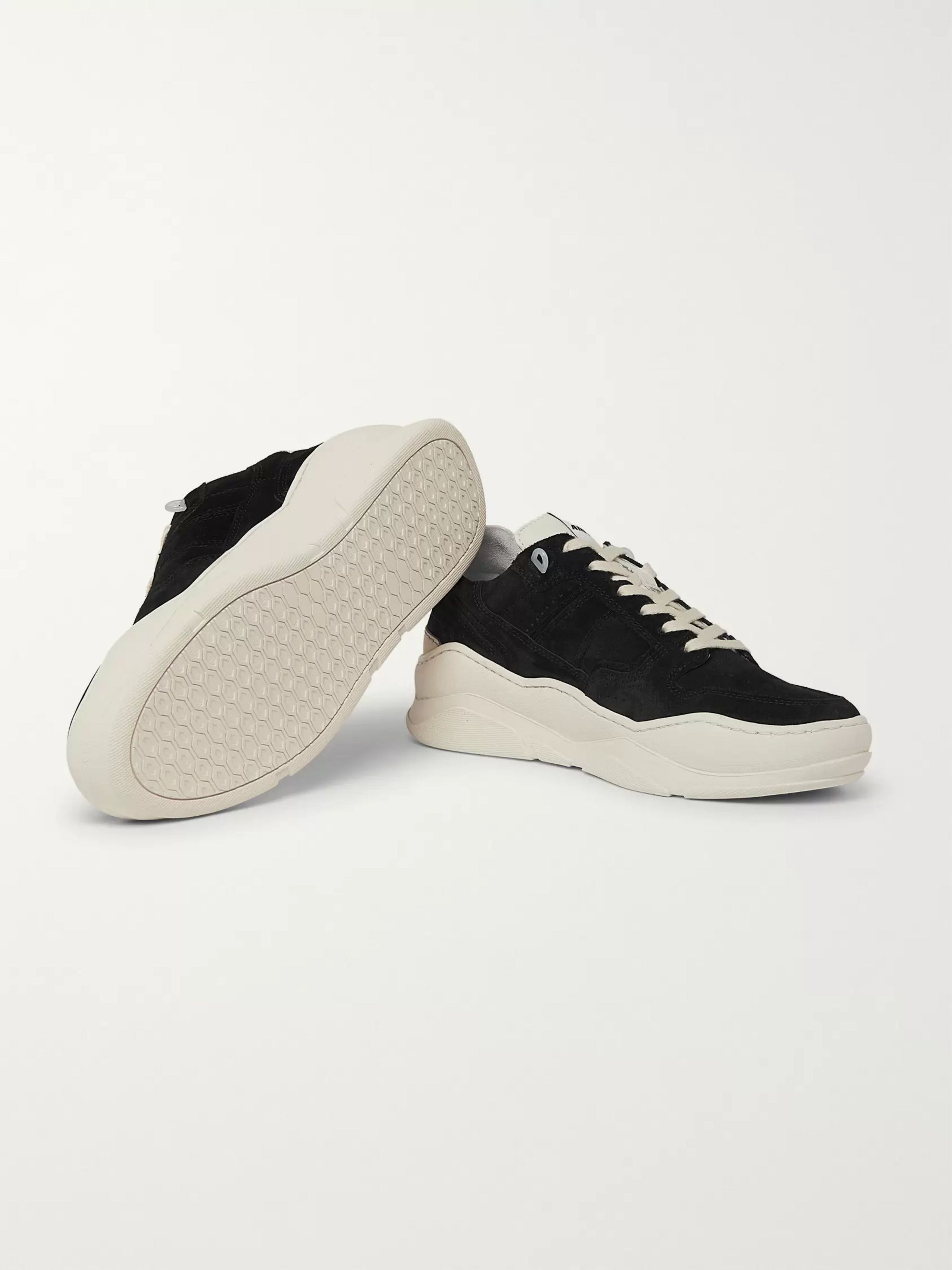 AMI Leather-Trimmed Suede Sneakers