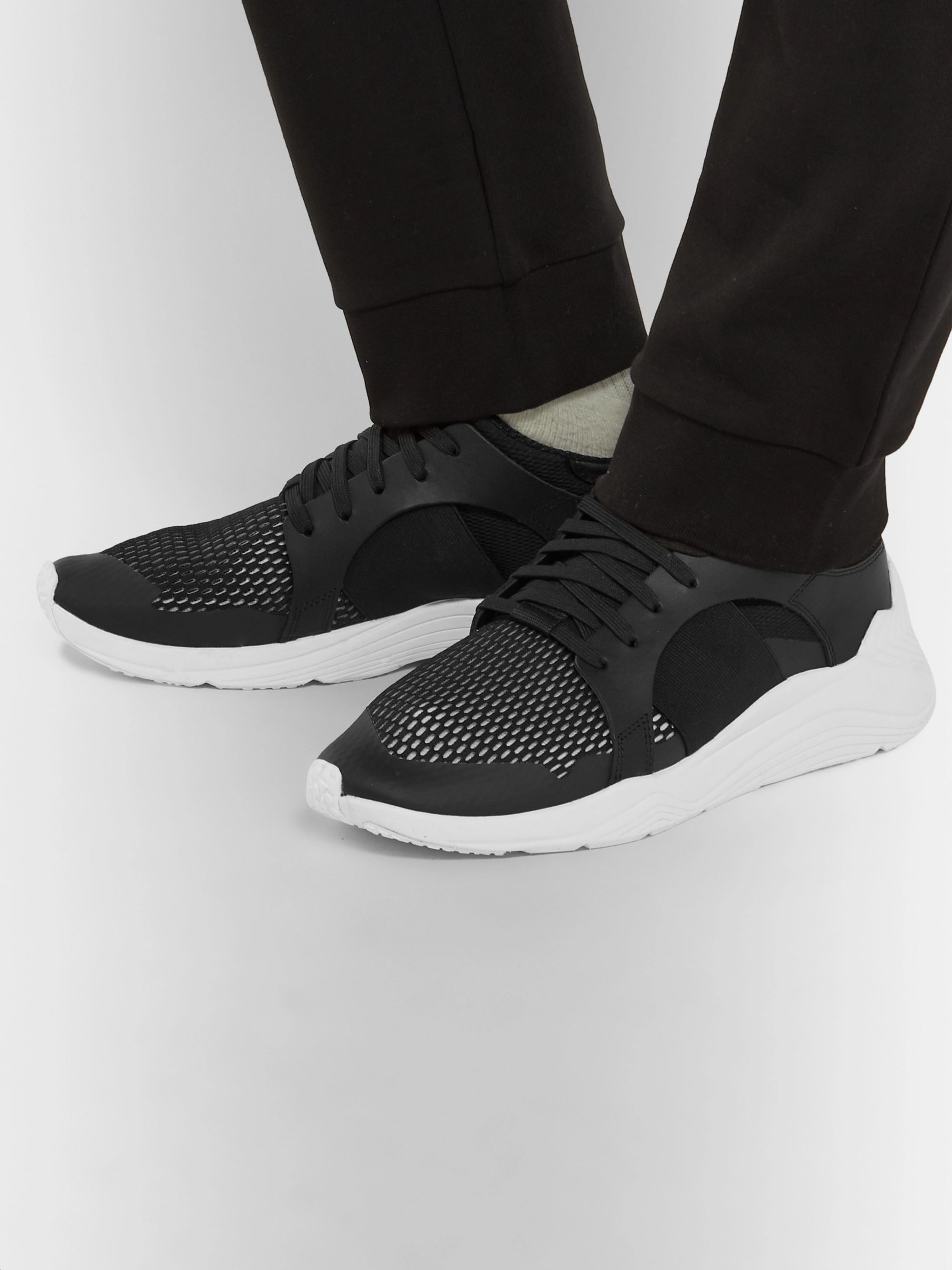 best sneakers bb9c6 3dc31 Gishiki Leather-Trimmed Mesh Sneakers