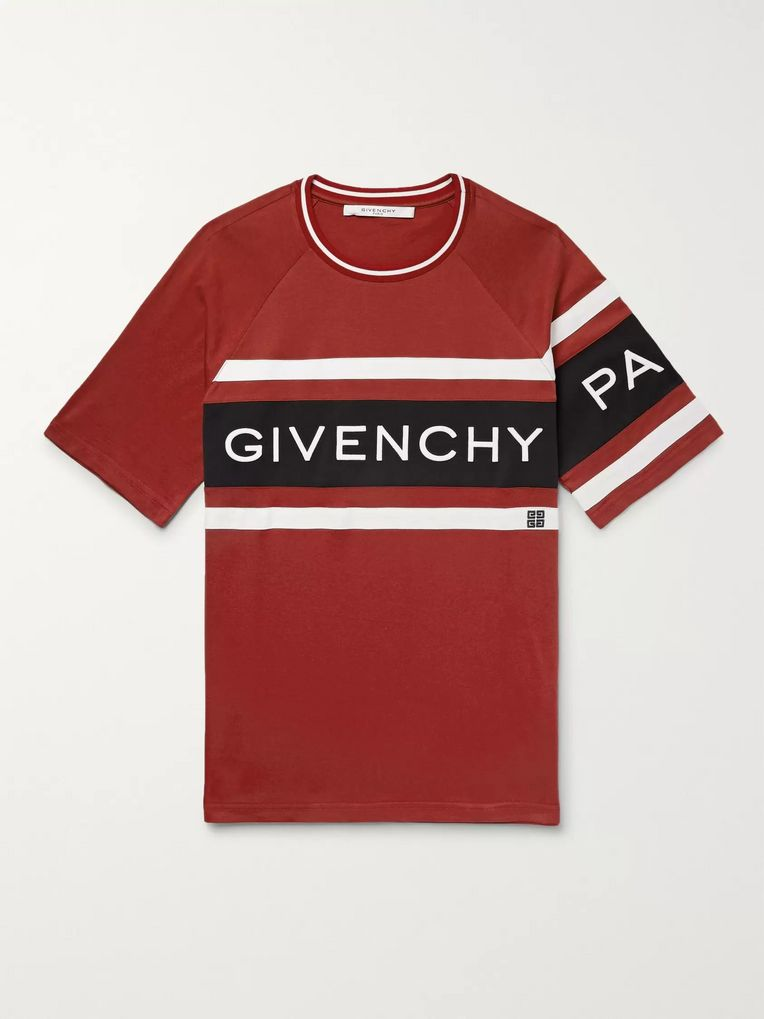 Givenchy Logo-Embroidered Striped Cotton-Jersey T-Shirt