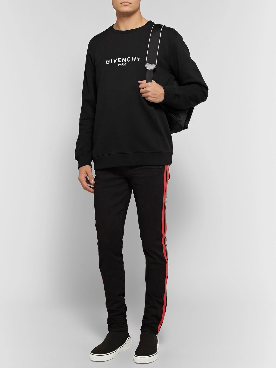 Givenchy T-shirts DISTRESSED LOGO-PRINT LOOPBACK COTTON-JERSEY SWEATSHIRT