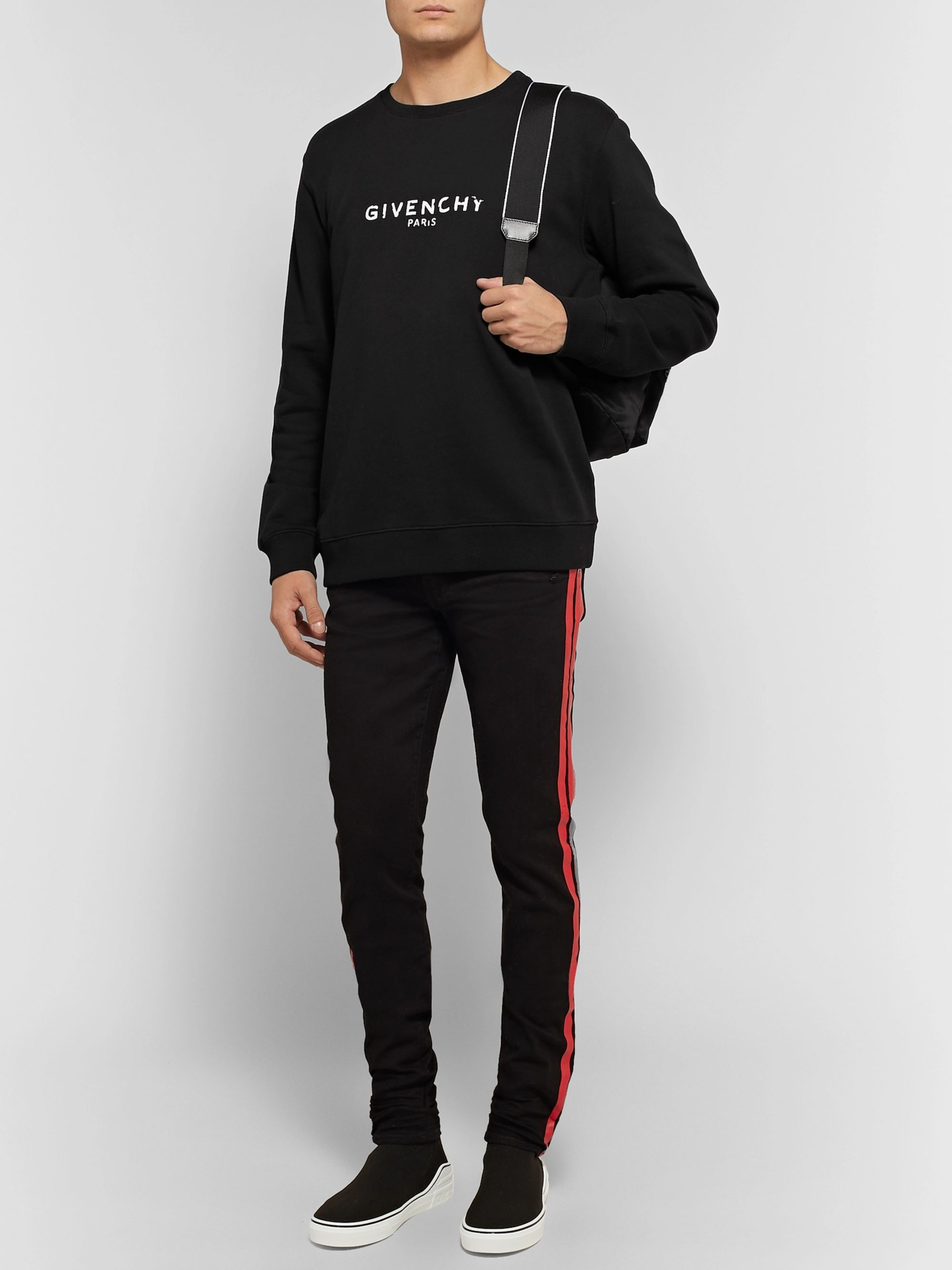 Givenchy Distressed Logo-Print Loopback Cotton-Jersey Sweatshirt