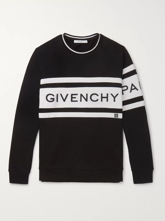 Givenchy Logo-Embroidered Striped Loopback Cotton-Jersey Sweatshirt
