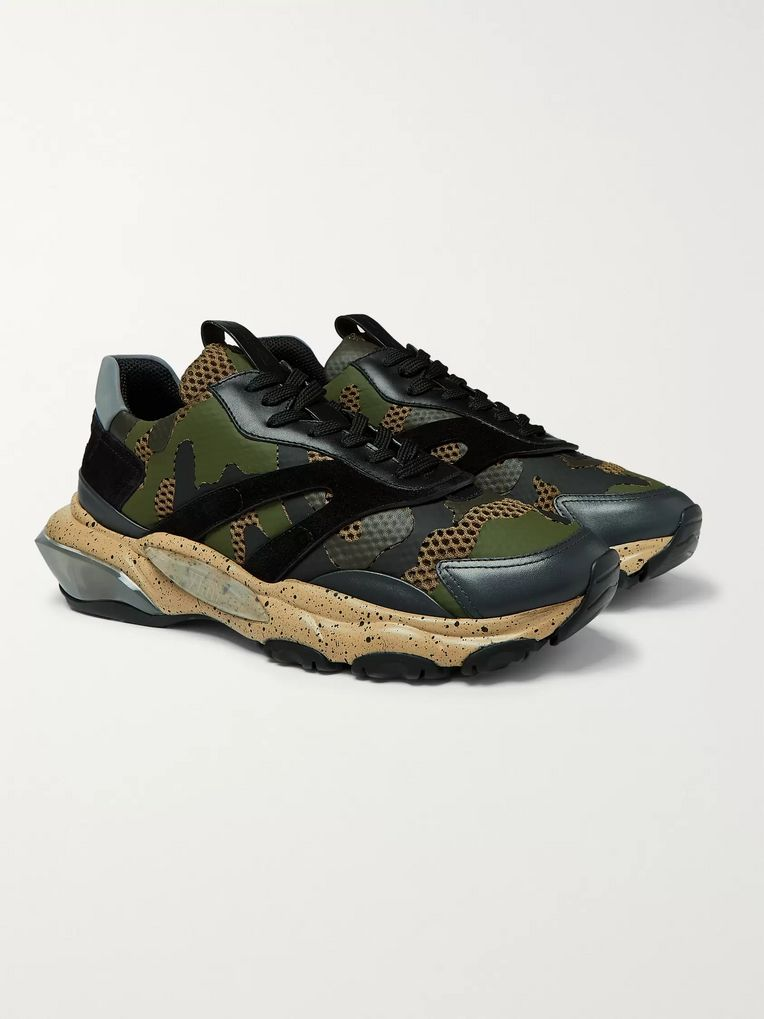 Valentino Valentino Garavani Bounce Leather, Suede and Mesh Sneakers