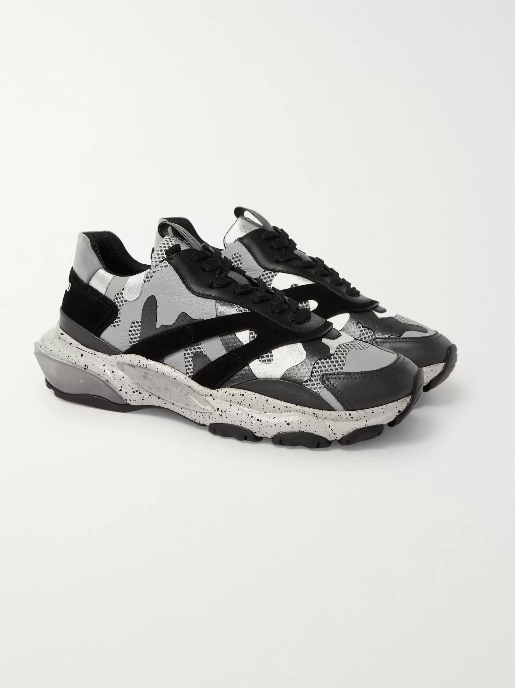 Valentino Garavani Bounce Leather, Suede And Mesh Sneakers by Valentino