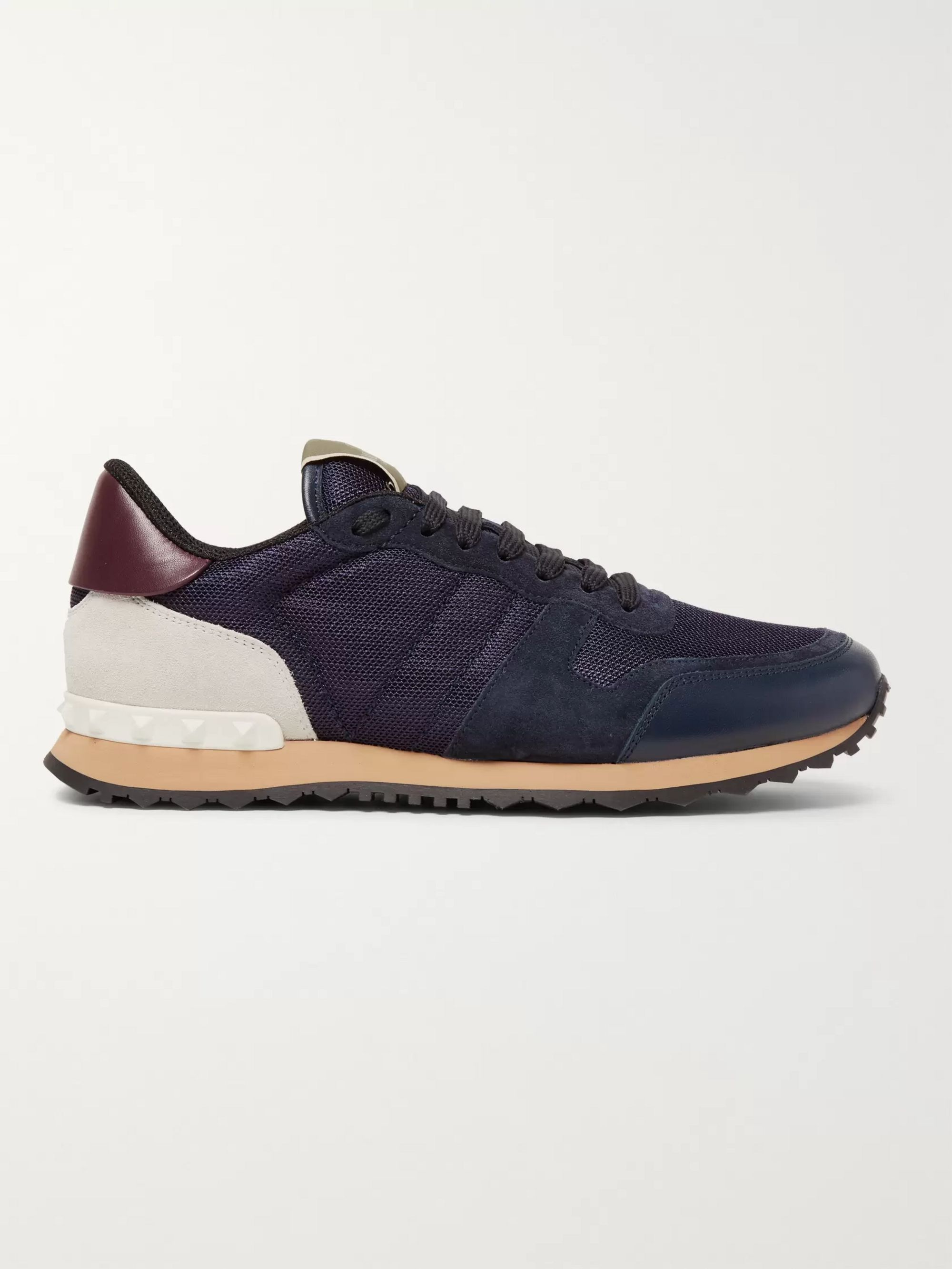 Valentino Valentino Garavani Rockrunner Mesh, Leather and Suede Sneakers