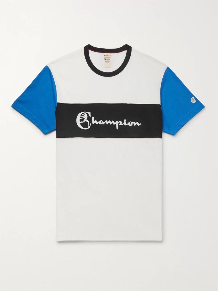 Todd Snyder + Champion Logo-Print Striped Cotton-Jersey T-Shirt