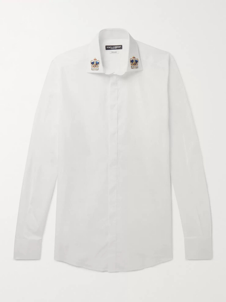 Dolce & Gabbana Slim-Fit Appliquéd Cotton-Poplin Shirt