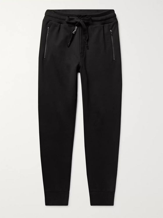Dolce & Gabbana Slim-Fit Tapered Logo-Embroidered Loopback Cotton-Jersey Sweatpants