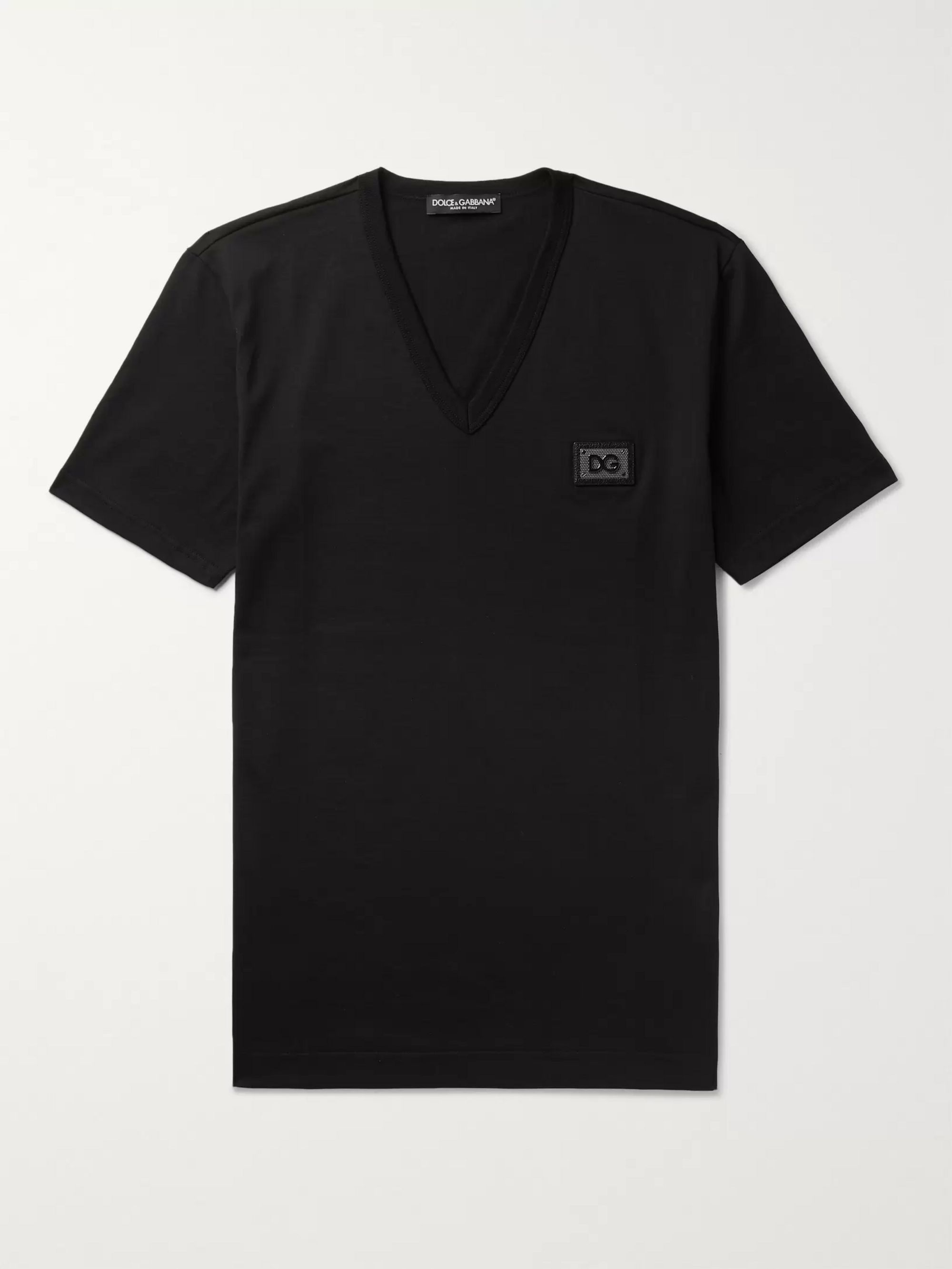 Dolce & Gabbana Slim-Fit Logo-Appliquéd Cotton-Jersey T-Shirt