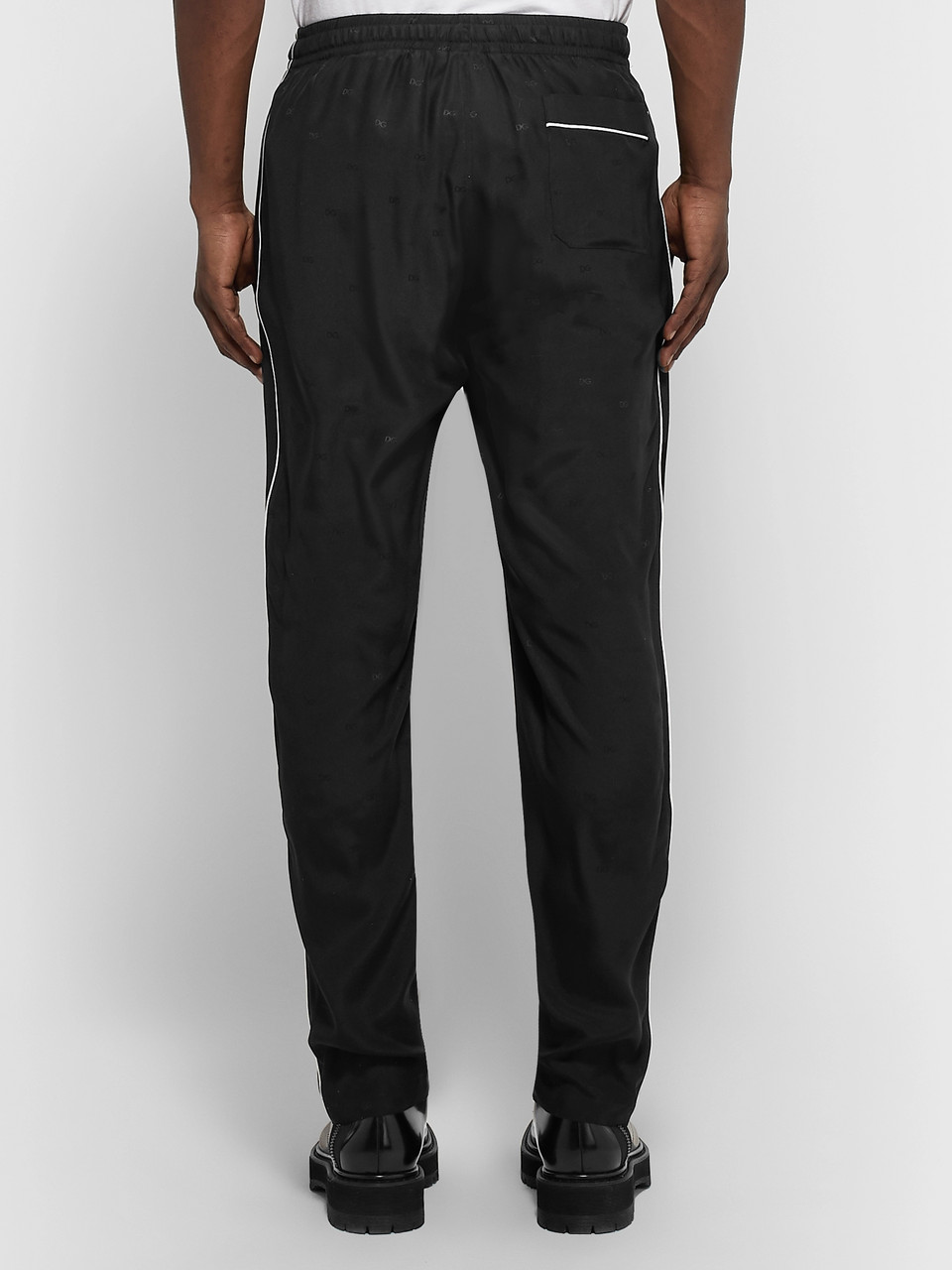 Dolce & Gabbana Piped Silk-Jacquard Drawstring Trousers