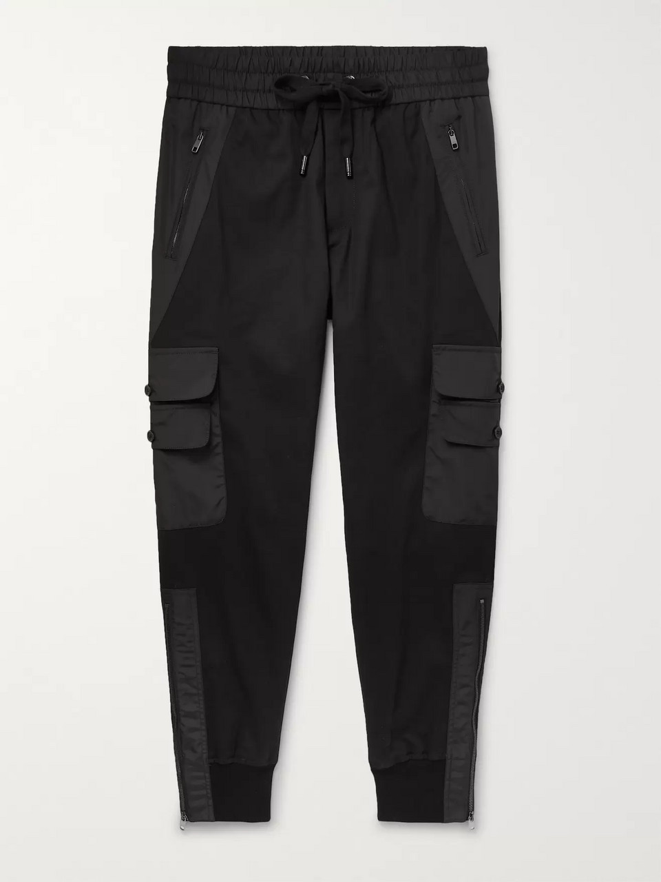 Dolce & Gabbana Black Tapered Gabardine Panelled Cotton-Blend Twill Drawstring Trousers