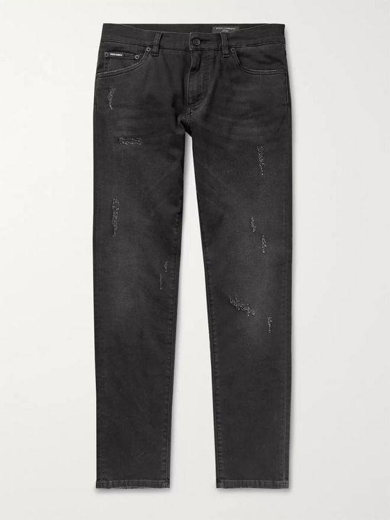 DOLCE & GABBANA Skinny Distressed Stretch-Denim Jeans