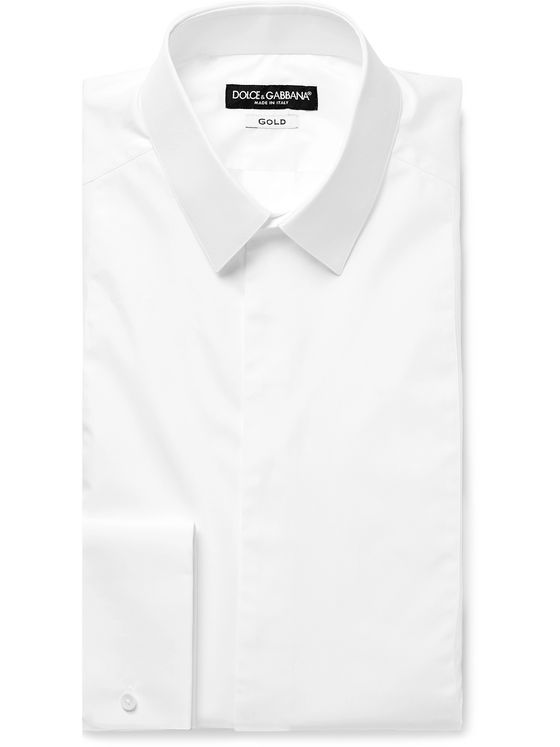 Dolce & Gabbana White Slim-Fit Bib-Front Double-Cuff Cotton-Poplin Tuxedo Shirt