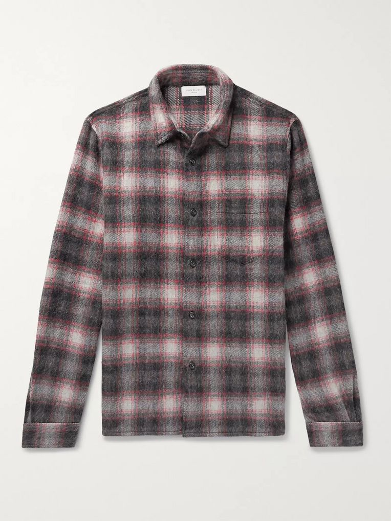 John Elliott Checked Wool-Blend Flannel Shirt