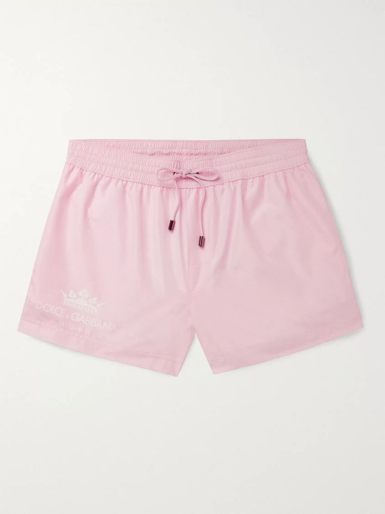 Dolce & Gabbana Short-Length Logo-Print Swim Shorts