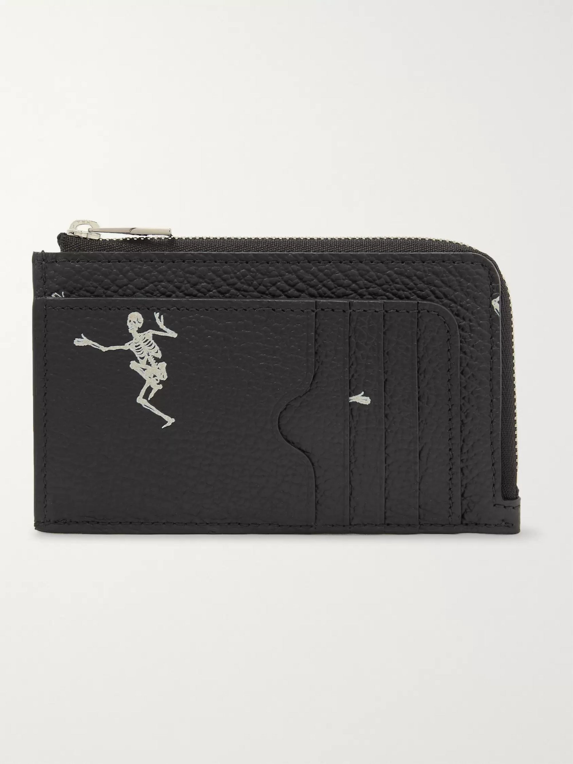 Alexander McQueen Printed Full-Grain Leather Zipped Cardholder