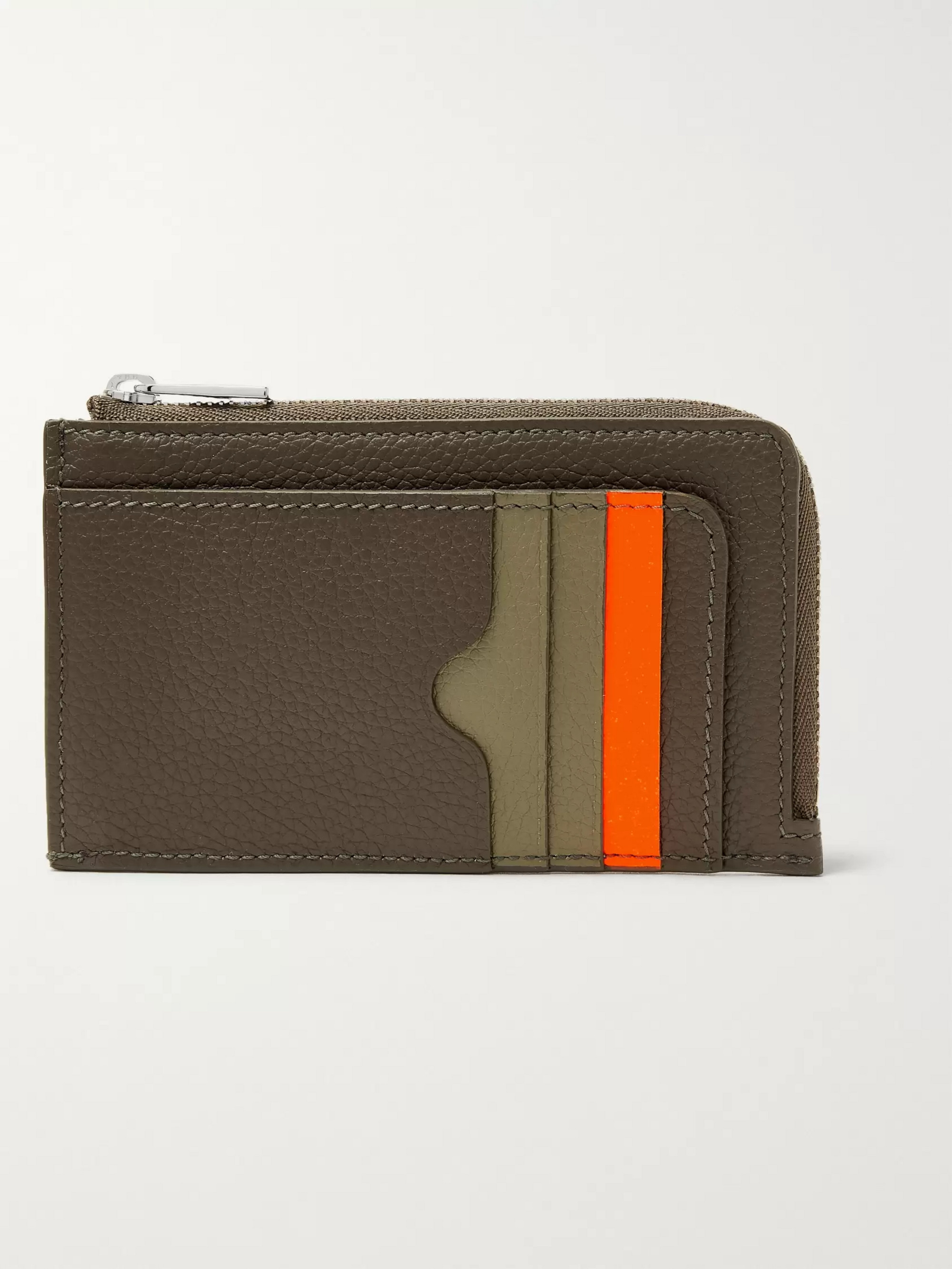 Alexander McQueen Colour-Block Full-Grain Leather Zip-Around Cardholder