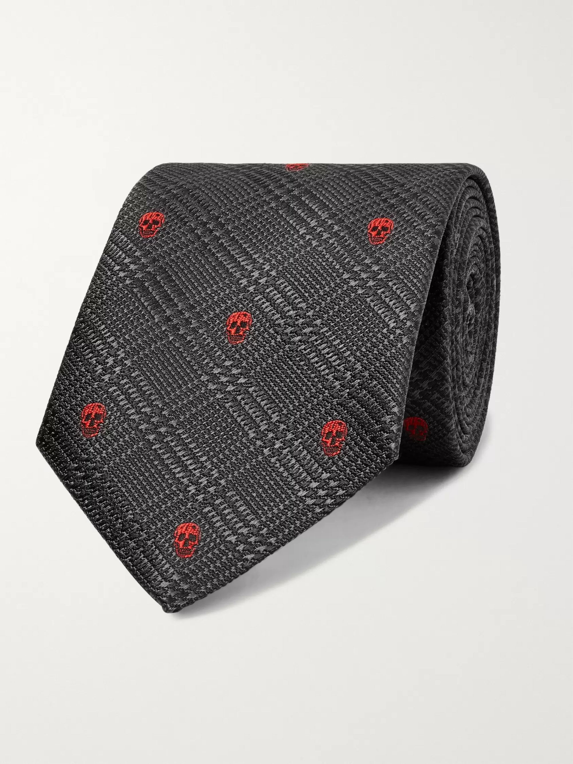 Alexander McQueen 7cm Embroidered Prince of Wales Checked Silk-Jacquard Tie