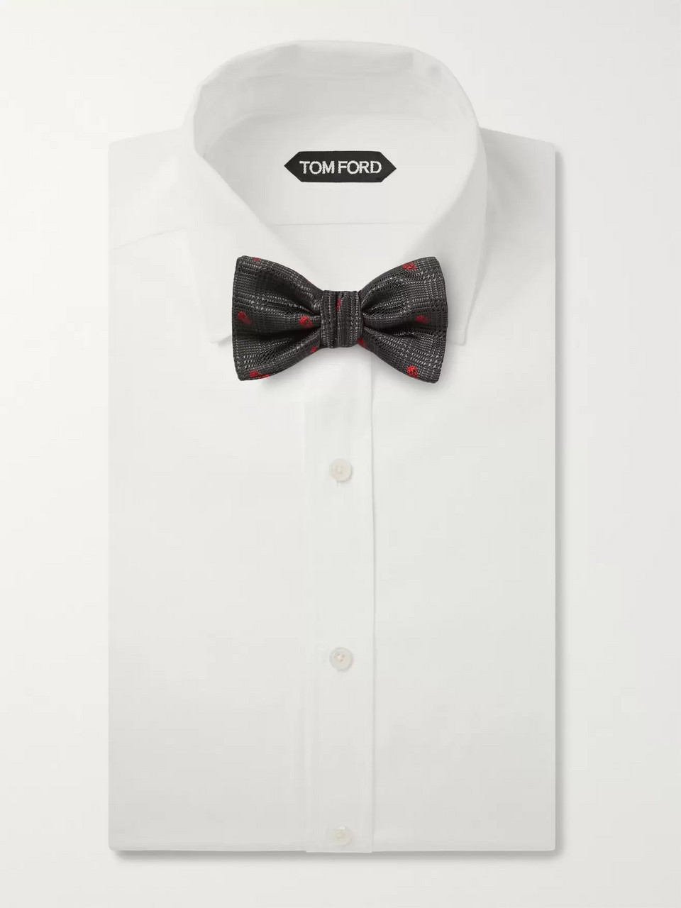 Alexander McQueen Pre-Tied Embroidered Silk-Jacquard Bow Tie