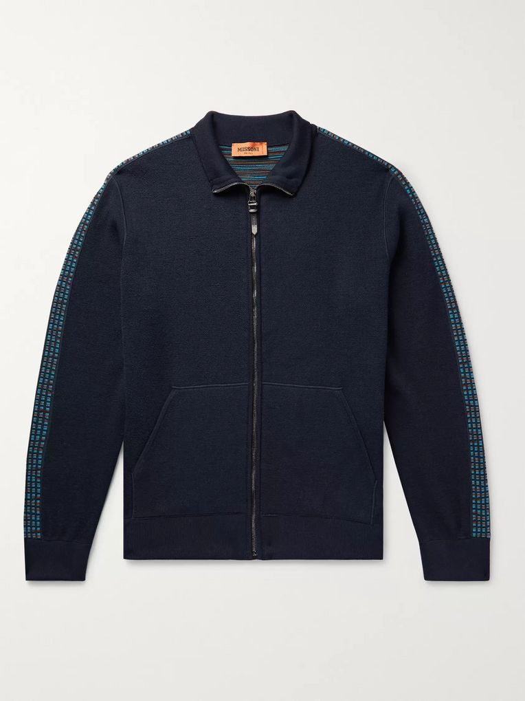 Missoni Intarsia-Trimmed Wool-Blend Zip-Up Sweater