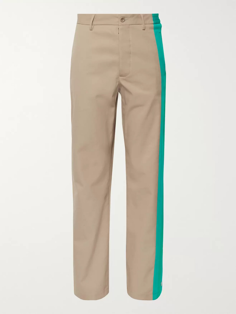 Maison Margiela Wide Leg Snap-Detailed Jersey-Trimmed Twill Trousers