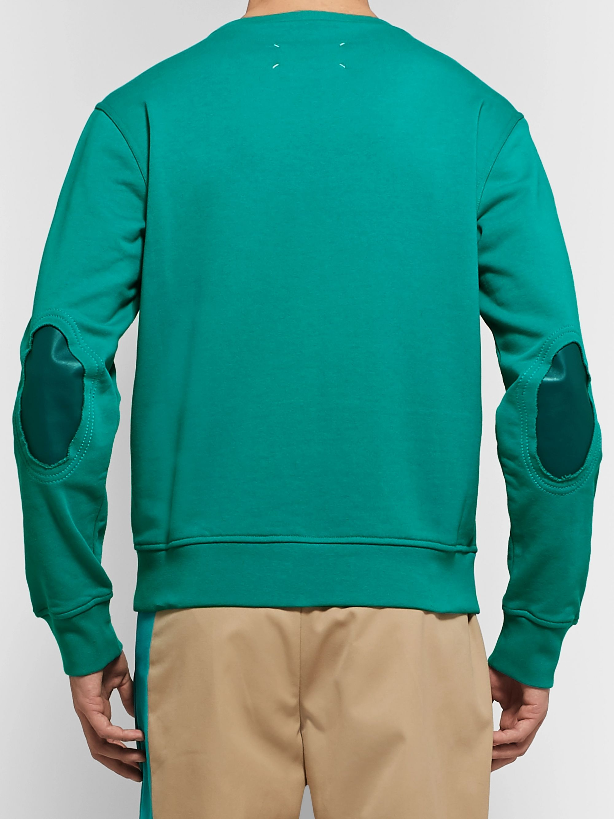 Maison Margiela Leather-Trimmed Loopback Cotton-Jersey Sweatshirt