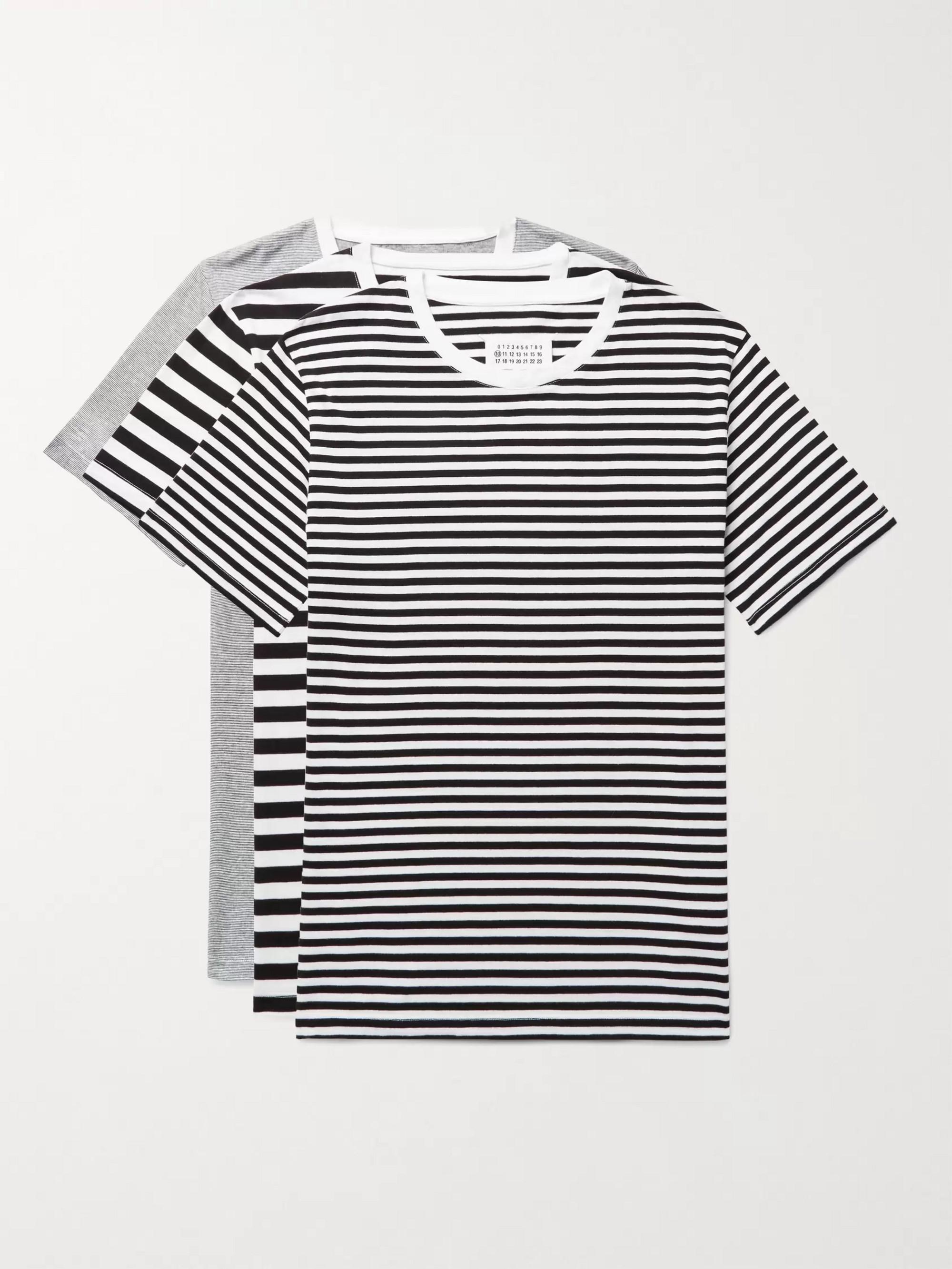 71cd78b2 Maison Margiela Three-Pack Slim-Fit Striped Cotton-Jersey T-Shirts