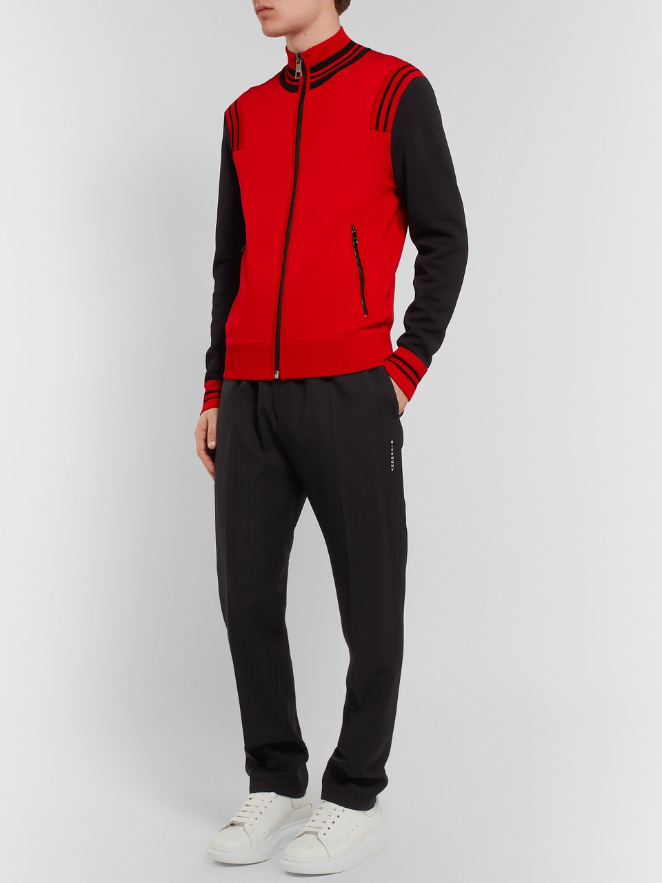 Neil Barrett Colour-Block Stretch-Knit Zip-Up Sweatshirt
