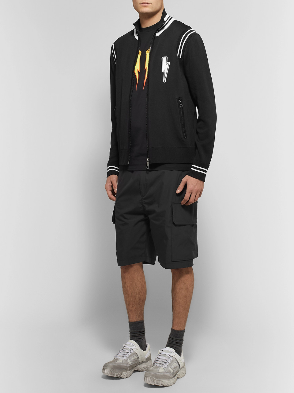 Neil Barrett Slim-Fit Appliquéd Tech-Jersey Track Jacket