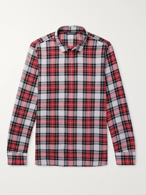 Neil Barrett Embellished Checked Cotton Shirt