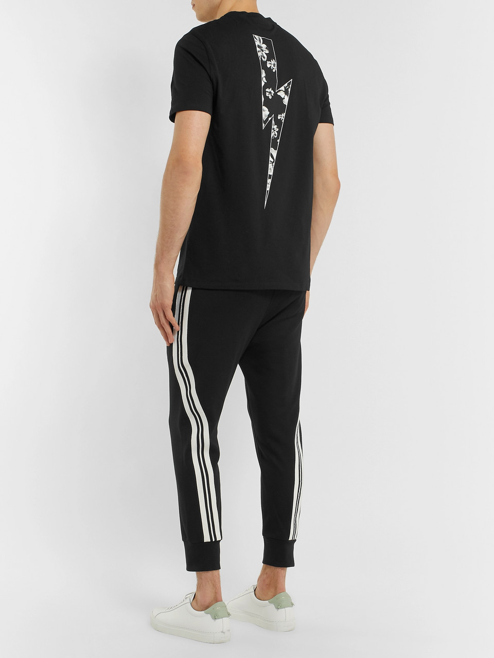 Neil Barrett Slim-Fit Tapered Cropped Striped Stretch-Jersey Sweatpants
