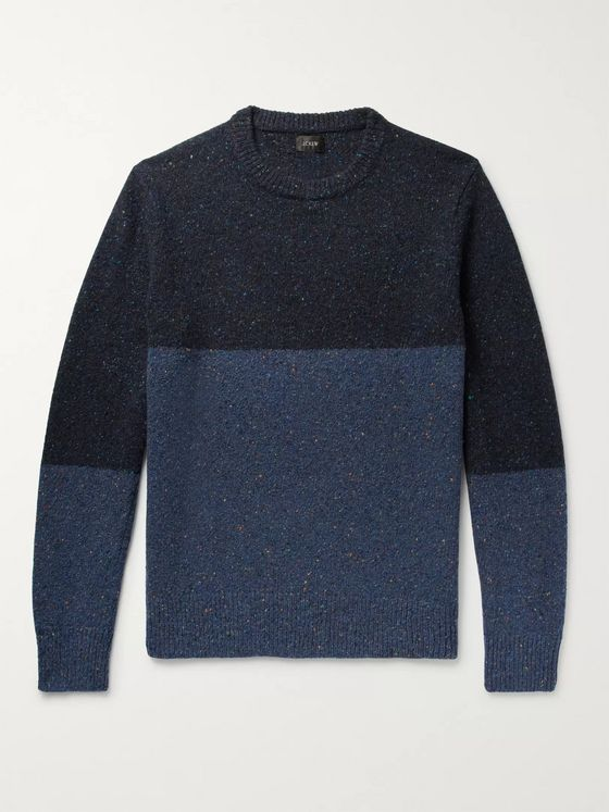 J.Crew Colour-Block Mélange Donegal Wool-Blend Sweater