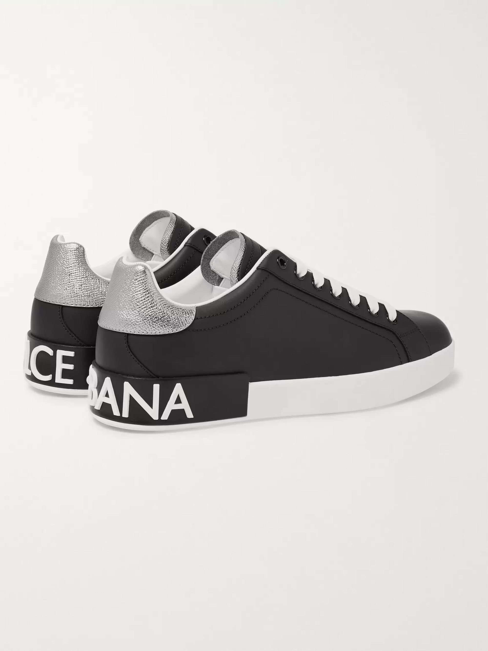 Dolce & Gabbana Logo-Detailed Metallic-Trimmed Leather Sneakers