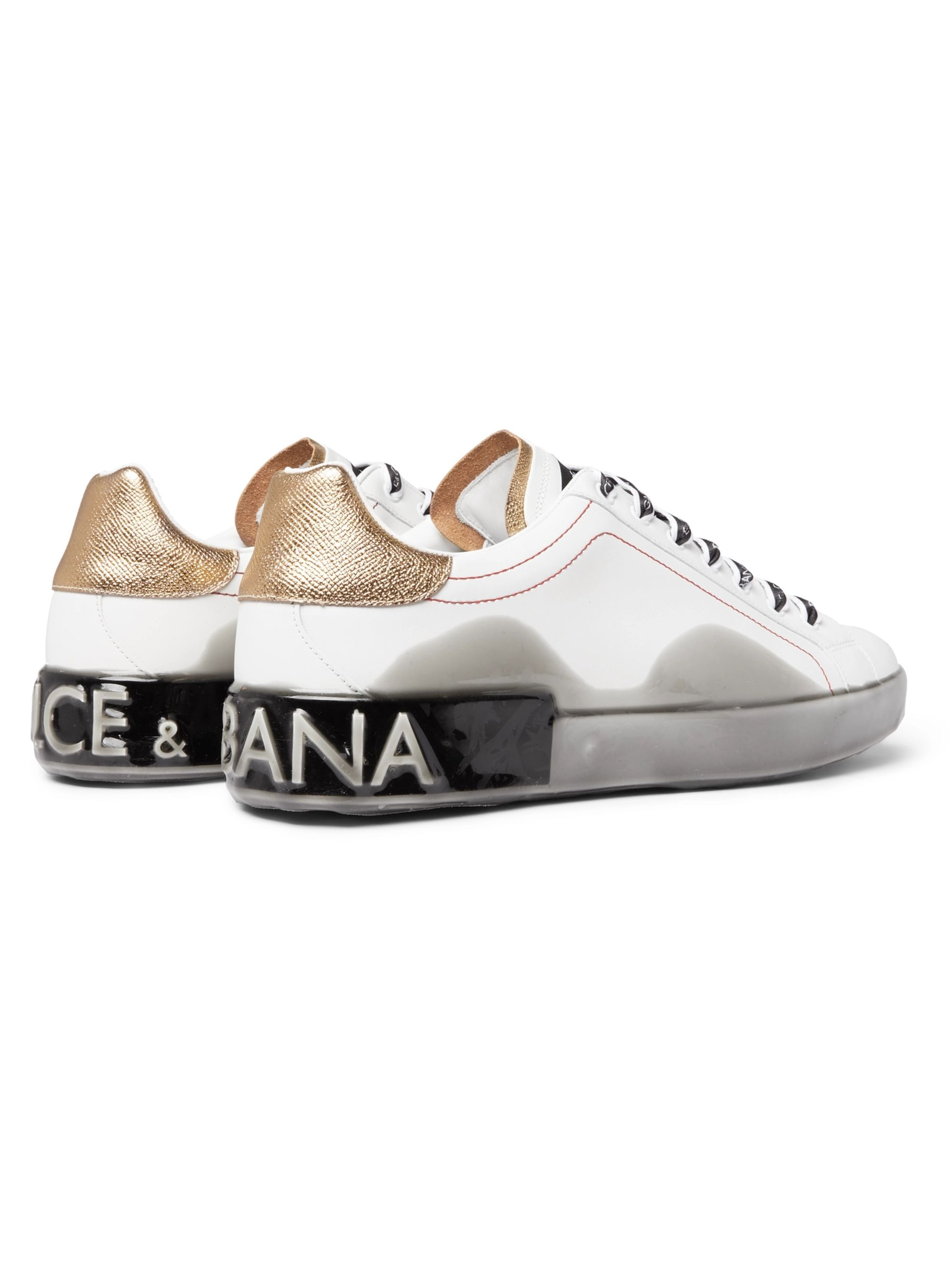 Dolce & Gabbana Metallic-Trimmed Leather and Rubber Sneakers