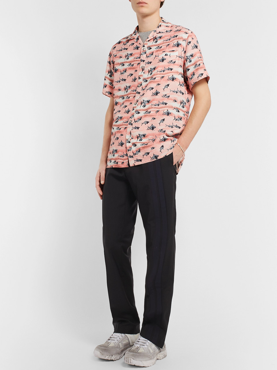 Lanvin Camp-Collar Printed Voile Shirt