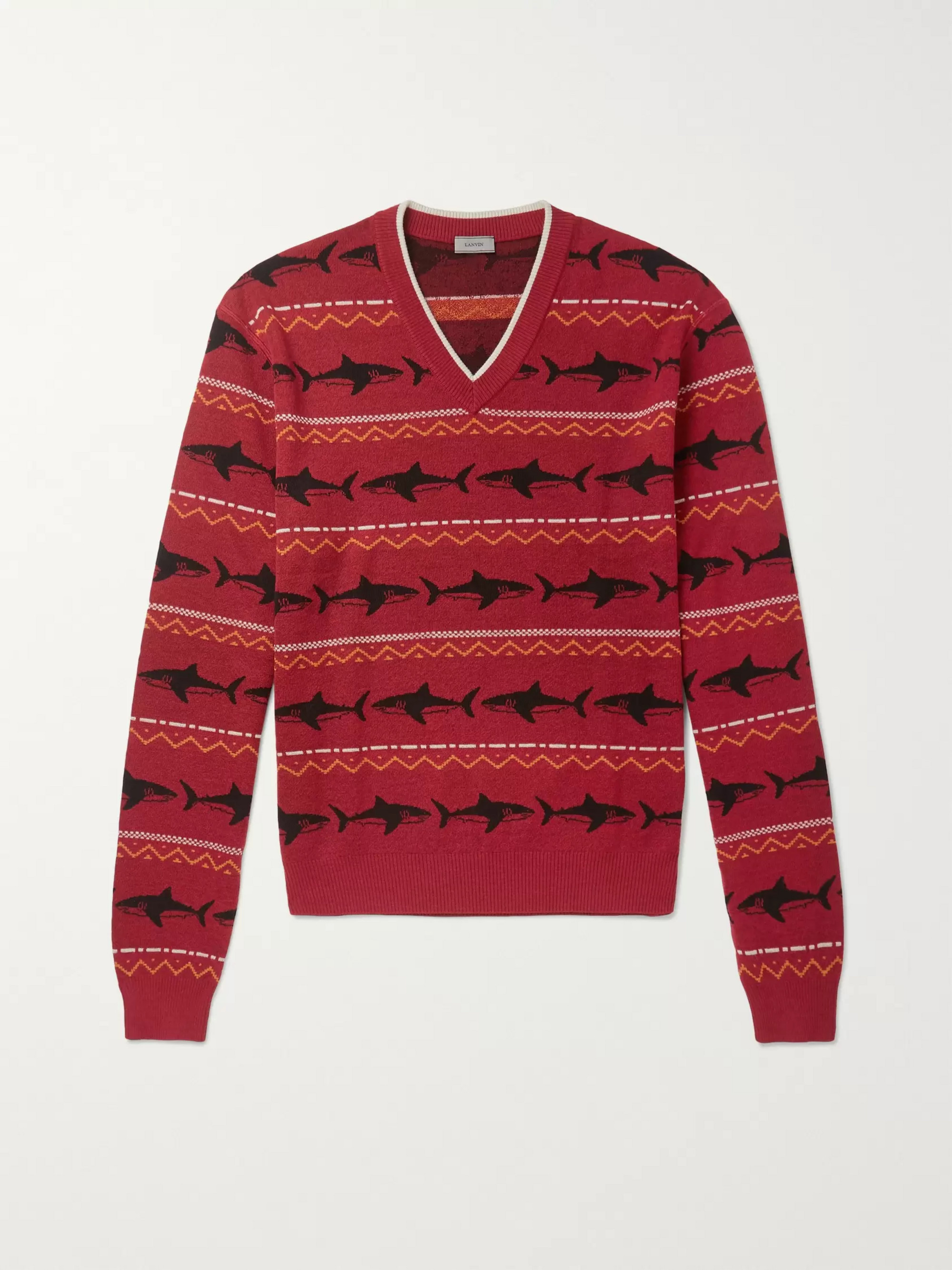 Lanvin Shark-Intarsia Merino Wool Sweater