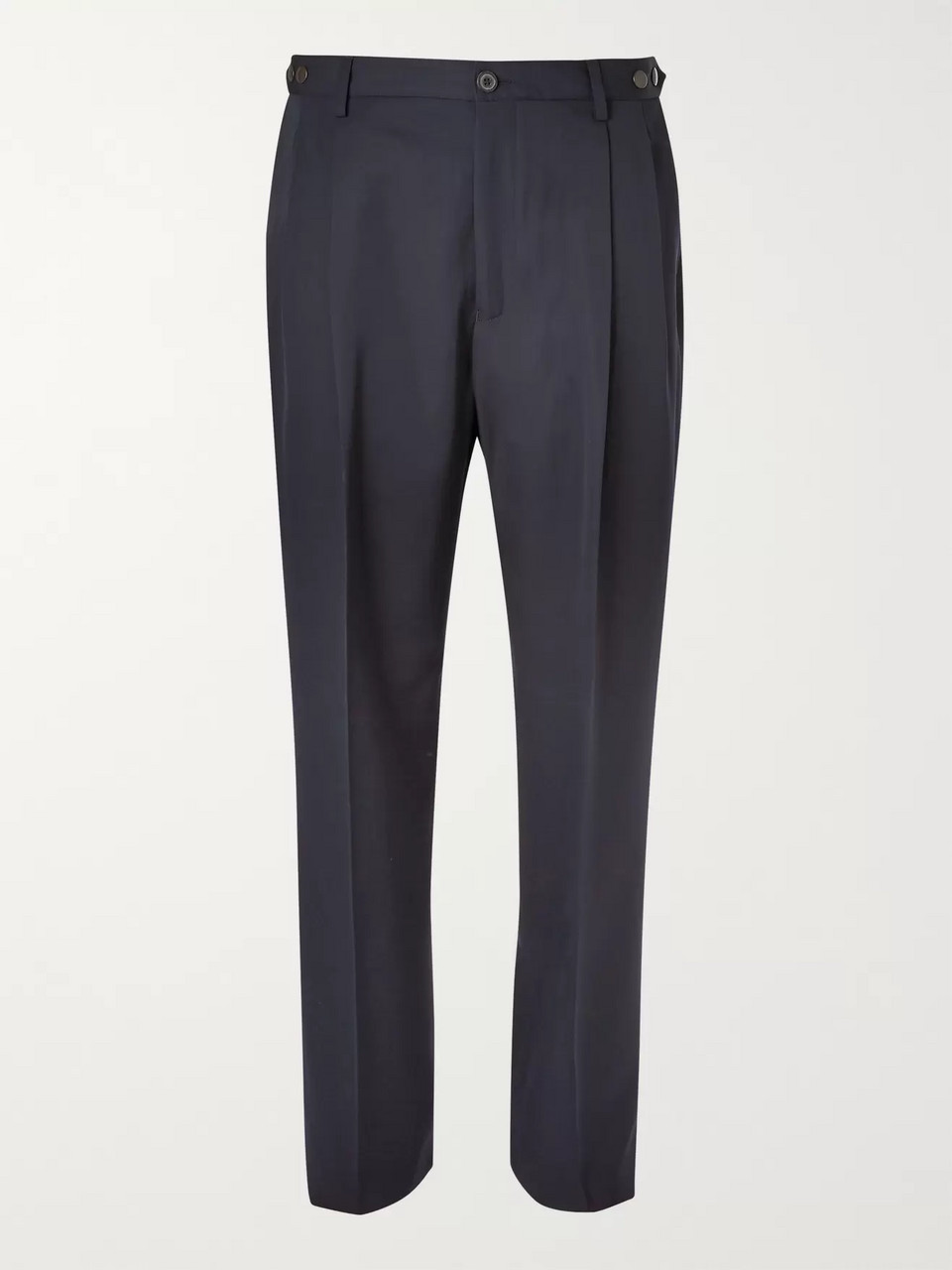 Lanvin Navy Tapered Pleated Virgin Wool Trousers