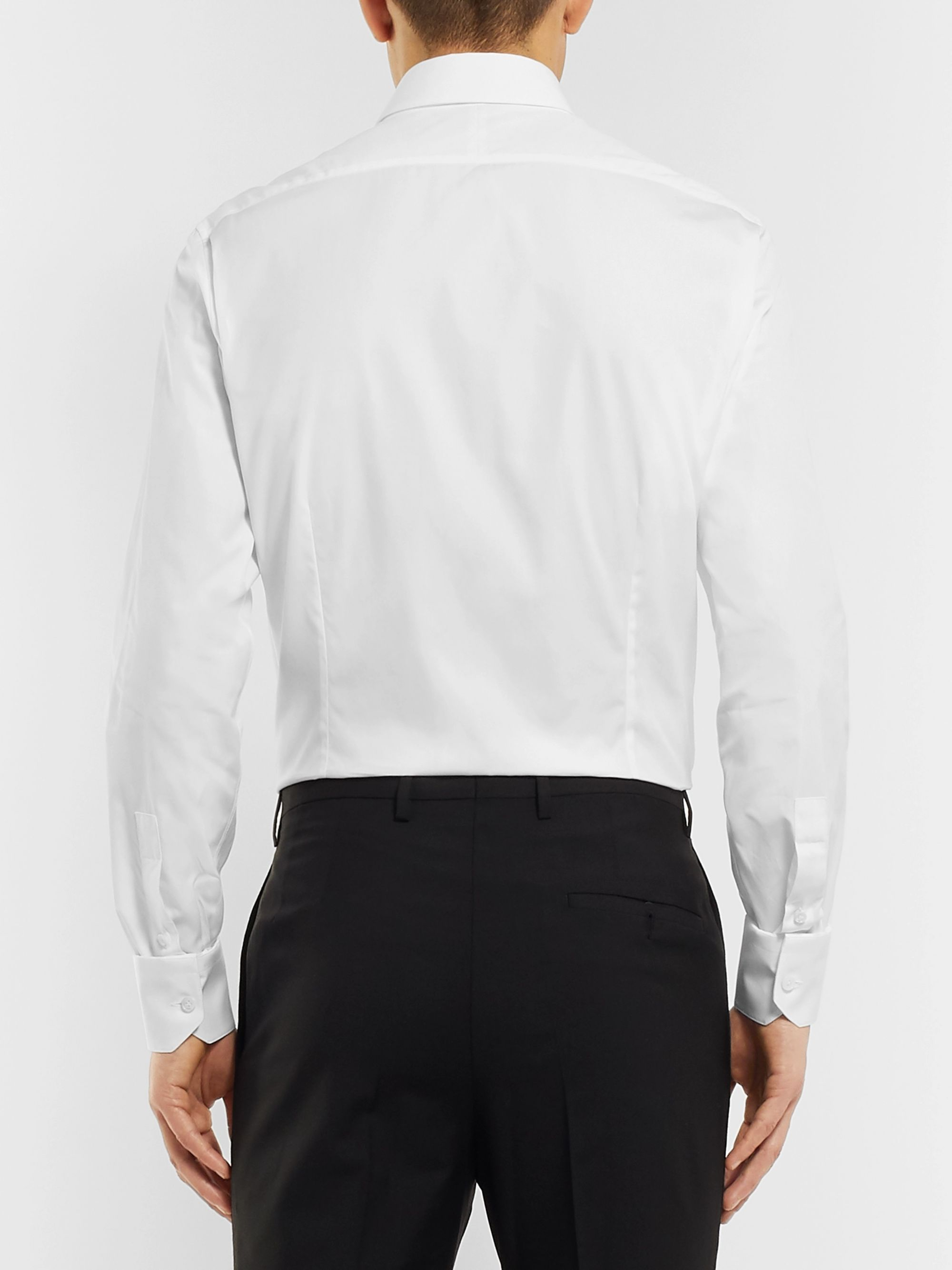 Lanvin White Slim-Fit Bib-Front Cotton-Poplin Tuxedo Shirt
