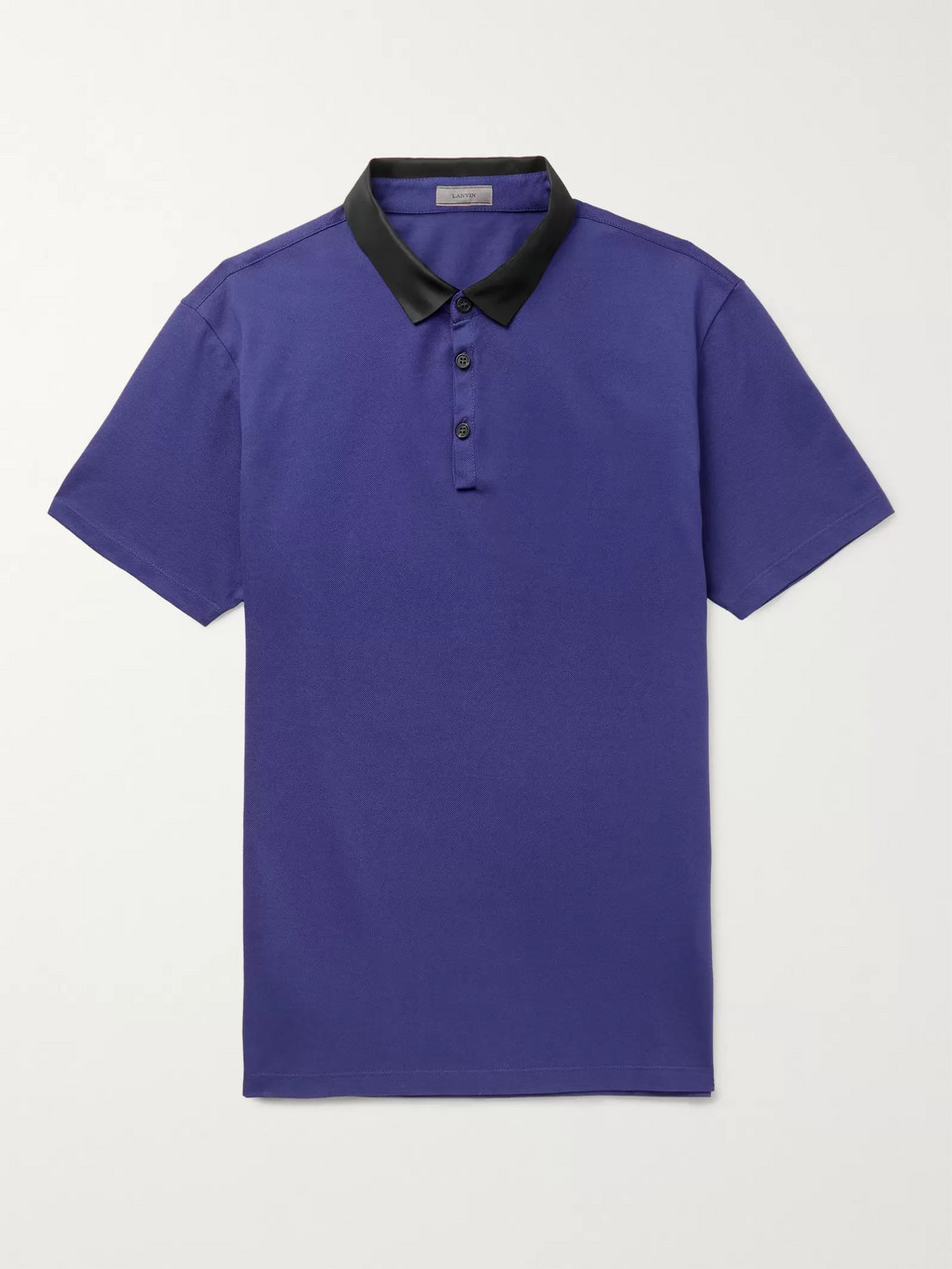 Lanvin Slim-Fit Satin-Trimmed Cotton-Piqué Polo Shirt