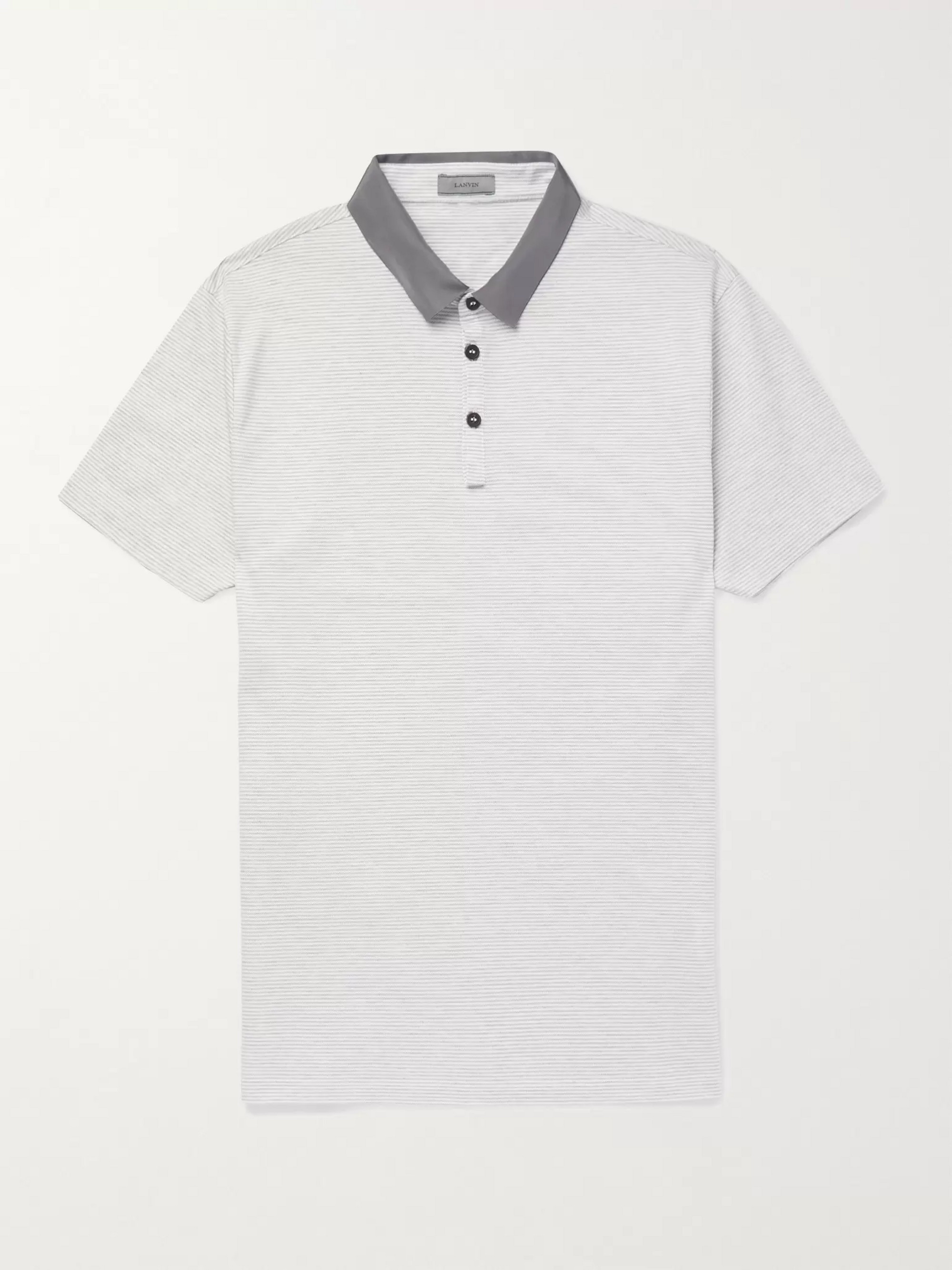Lanvin Slim-Fit Satin-Trimmed Striped Cotton-Piqué Polo Shirt