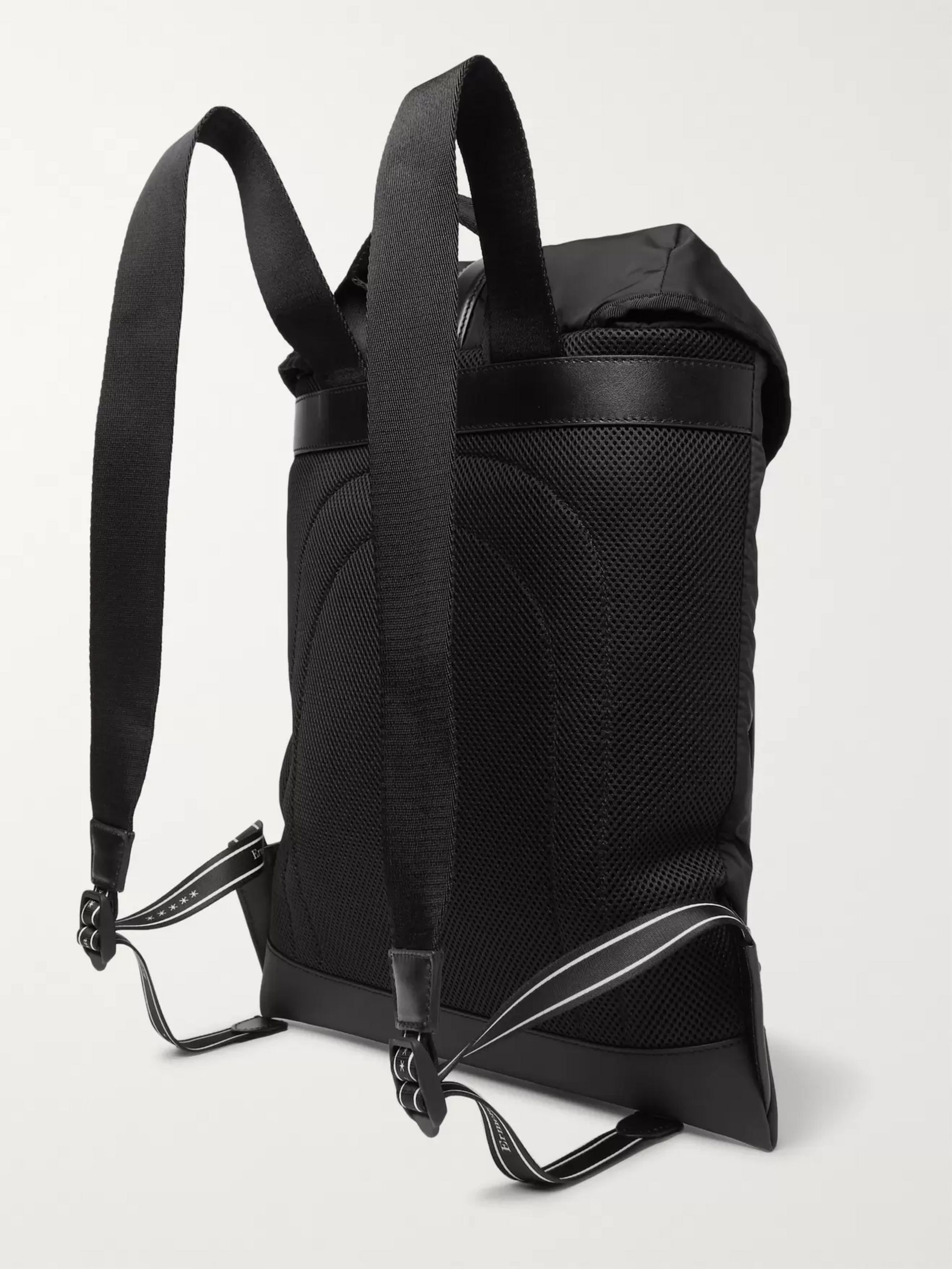 Ermenegildo Zegna Pelle Tessuta Leather and Nylon Backpack