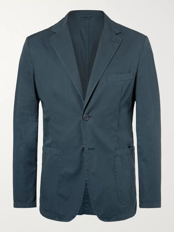 Aspesi Navy Slim-Fit Unstructured Cotton-Twill Blazer