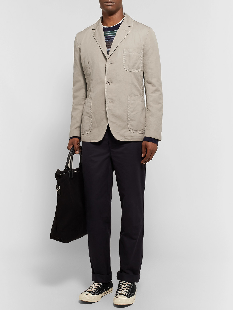 Aspesi Stone Slim-Fit Unstructured Linen Blazer