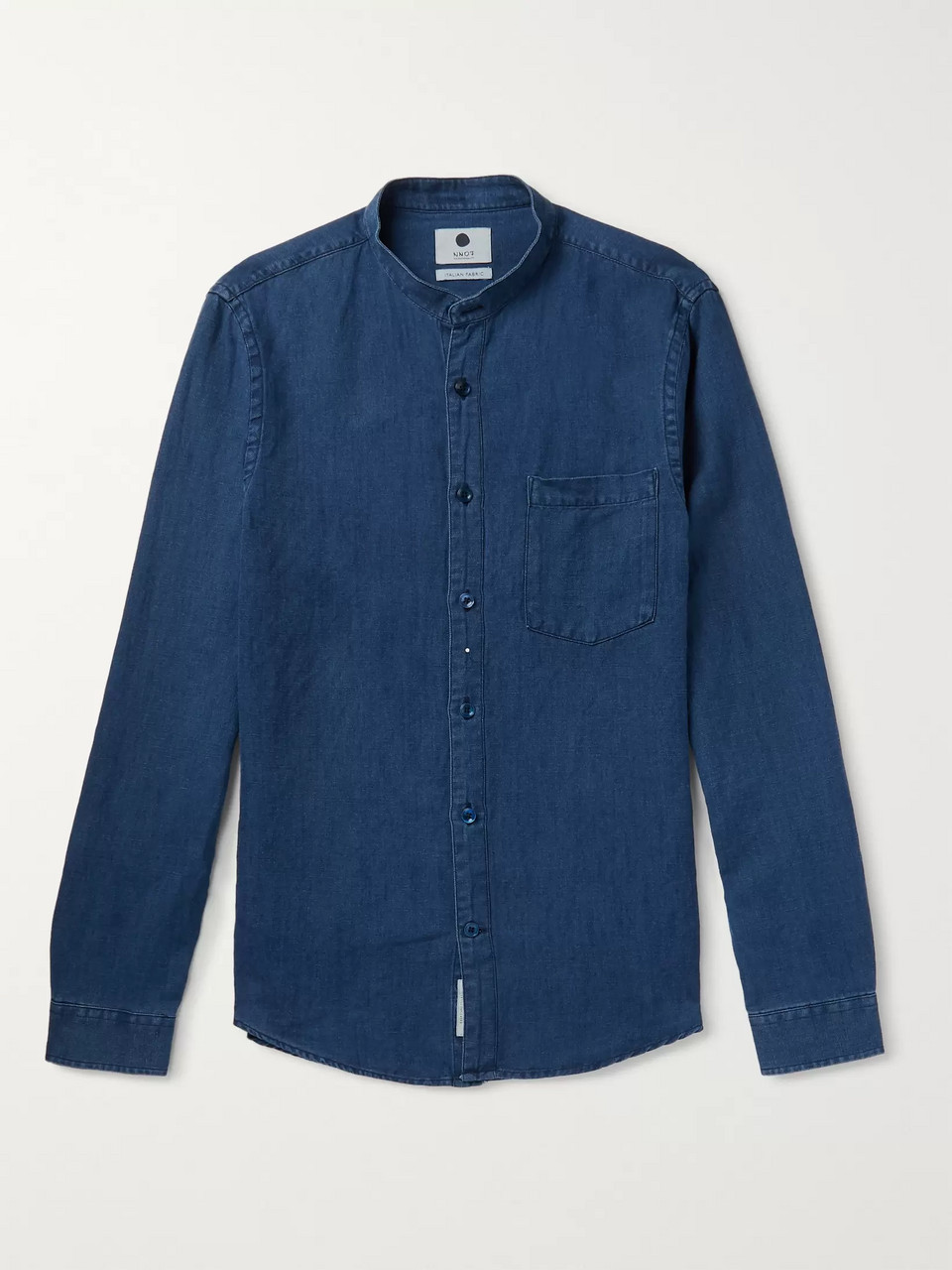 NN07 Slim-Fit Grandad-Collar Linen and Cotton-Blend Chambray Shirt