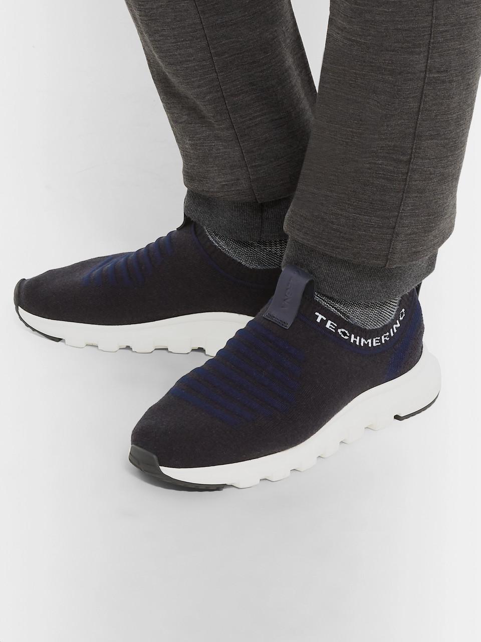 8143d90c99 Ermenegildo Zegna Leather-Trimmed TECHMERINO Wool-Mesh Slip-On Sneakers
