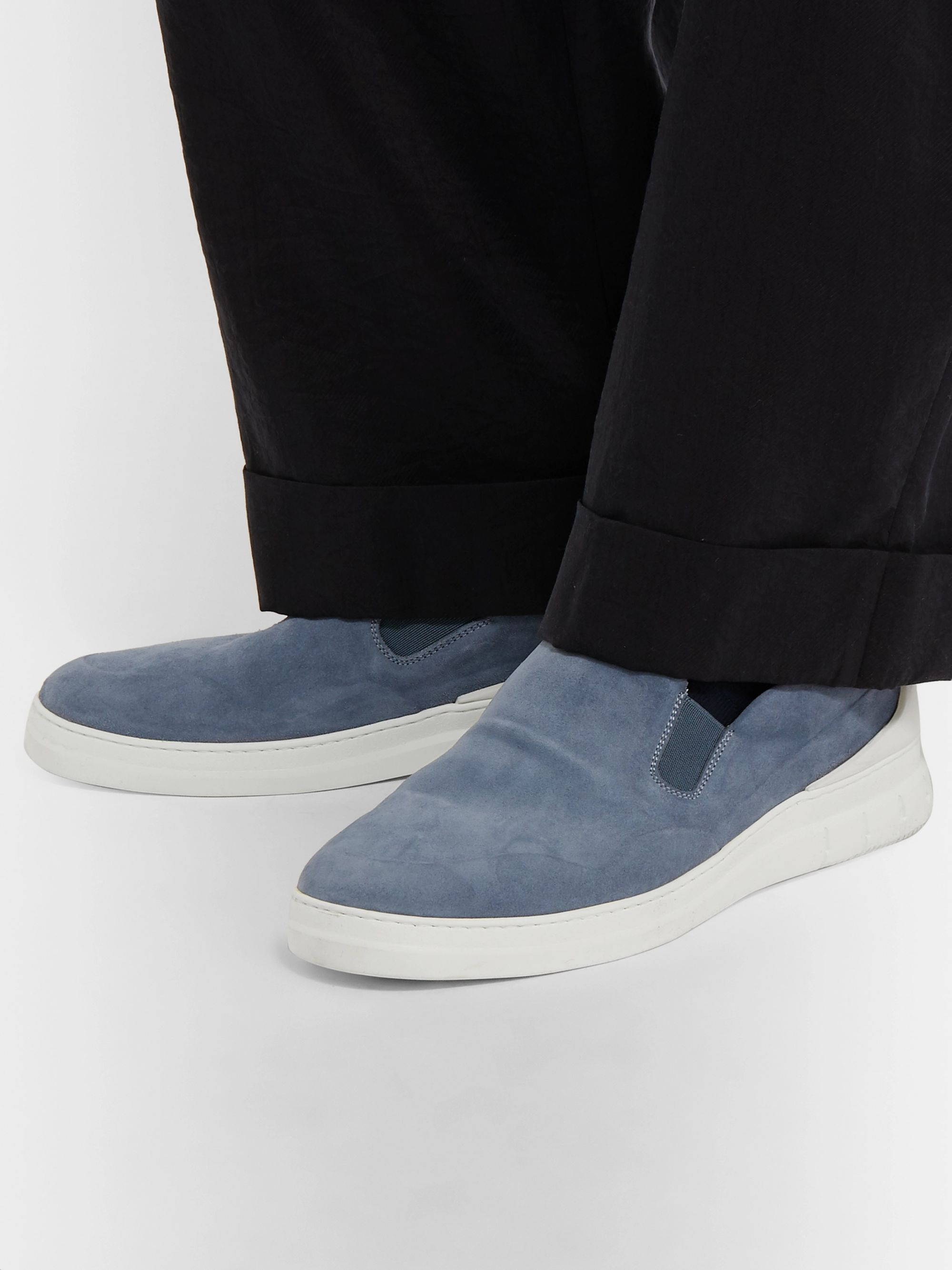 Dunhill Radial Spoiler Suede Slip-On Sneakers