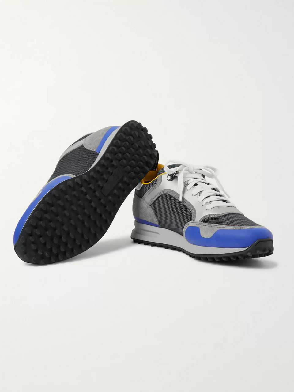 Dunhill Radial Runner Leather and Suede-Trimmed Mesh Sneakers