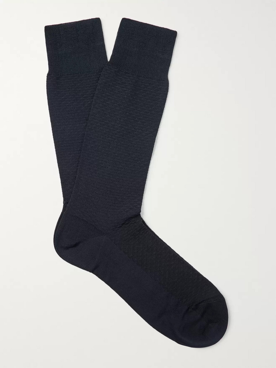 Ermenegildo Zegna Textured Stretch Cotton-Blend Socks